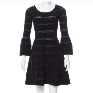 Sandro black knit bell sleeve cocktail dress